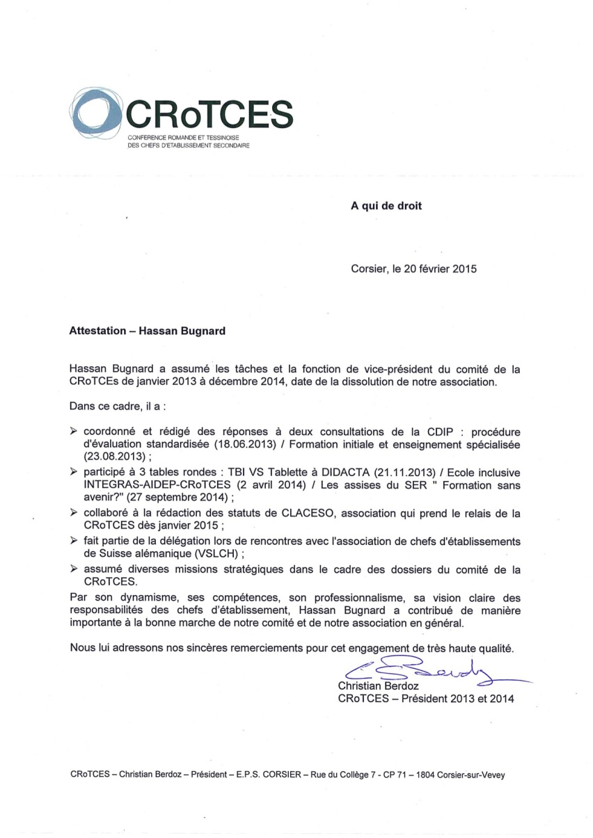 Certificat H. Bugnard - février 2015